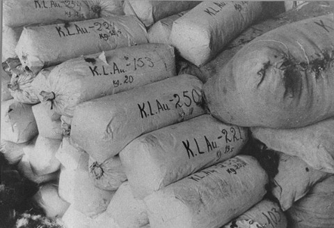 Hair of women prisoners, prepared for shipment to Germany, found at the liberation of the Auschwitz extermination camp. Poland, 1945. - US Holocaust Memorial Museum