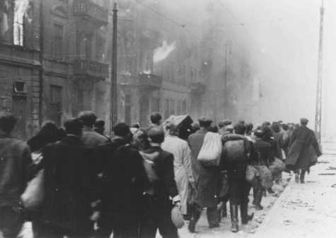 Deportation of Jews from the Warsaw ghetto during the ghetto uprising. Warsaw, Poland, May 1943. - National Archives and Records Administration