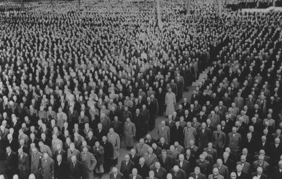 "Roll call for newly arrived prisoners, mostly Jews arrested during Kristallnacht (the ""Night of Broken Glass""), at the Buchenwald concentration camp. Buchenwald, Germany, 1938. - US Holocaust Memorial Museum"