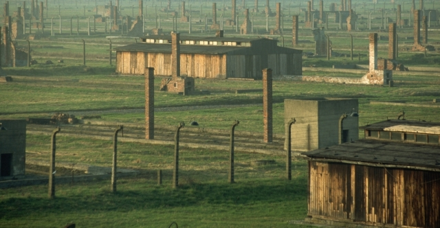 A view of barbed wire fences, buildings and chimneys at Auschwitz-Birkenau, the largest Nazi concentration camp and extermination camp in operation during World War II. - History.com