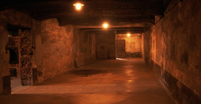 This gas chamber was the largest room in Crematorium I at Auschwitz. The room was originally used as a mortuary but was converted in 1941 into a gas chamber where Soviet POWs and Jews were killed. - History.com