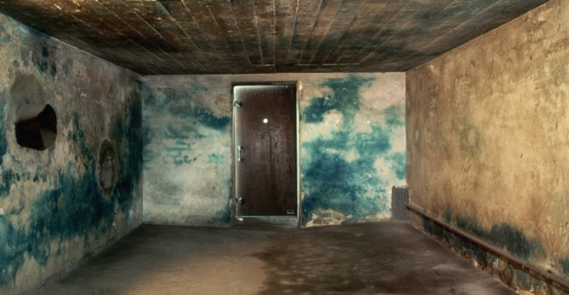 The gas chamber at Majdanek, a Nazi concentration camp in Poland, the walls were stained blue by Zyklon B. - History.com